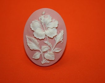 Large Light Pink Hibiscus Flower Cameo Ring