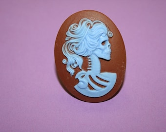 SALE Large Blue and Brown Skull Lady Cameo Ring