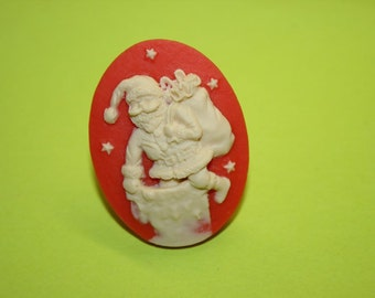 Large Red Santa Claus Cameo Ring
