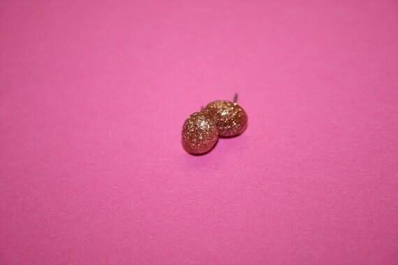 SALE Tiny Glittery Copper Earrings