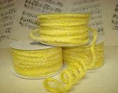 Yellow  Wired Velvet Cord / Ribbon / 3 yards