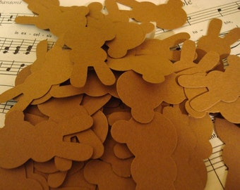 50 Handpunched Paper Bunnies - Chocolate Brown