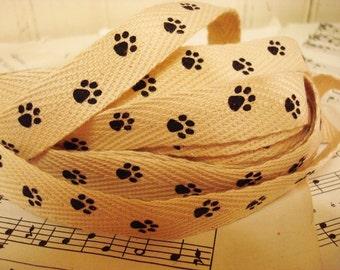 Paw Print - Cotton Twill Ribbon - 3 Yards