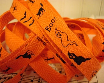 Halloween Pictures Cotton  Twill Ribbon - 3 Yards