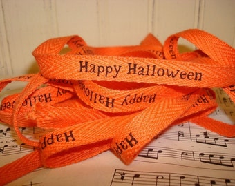 Happy Halloween - Cotton Twill Ribbon - 3 Yards