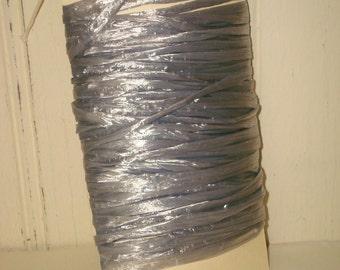 Silver Raffia Ribbon - 10 Yards - Pearlized