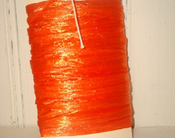 Bright Orange Pearlized Raffia Ribbon - 10 Yards