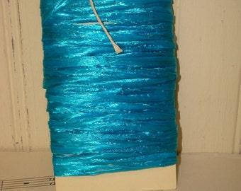 Aqua Raffia Ribbon - Pearlized - 10 Yards