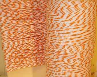 Orange and  Bright  White Baker's Twine - 20 Yards