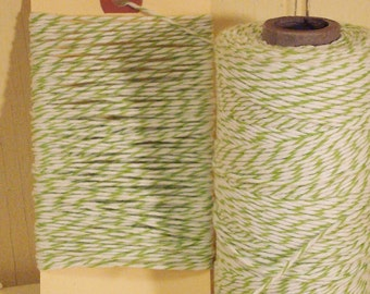 Apple Green and Bright  White Baker's Twine - 20 Yards