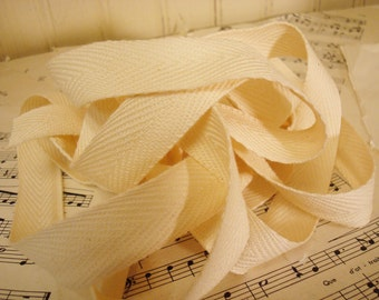 """3 Yards Blank Cotton Twill Ribbon -  Natural Color -  3/4""""  Wide"""