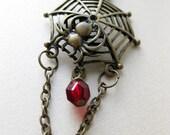 The Crimson Widow - Brass Spider Necklace