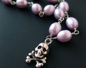 Plunder and Pearls - sterling silver skull handmade necklace