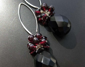 Nocturne - Luxe Onyx and Garnet earrings