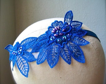 Blue Sequined Flower Headband
