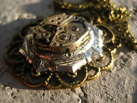 Amhurst Bulova. Steampunk Watch Movement Necklace.