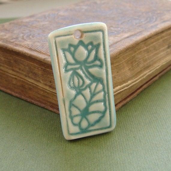 Water Lily Flower Ceramic Pendant in Aqua Green