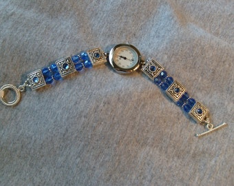 Blue Swarovski Band Watch