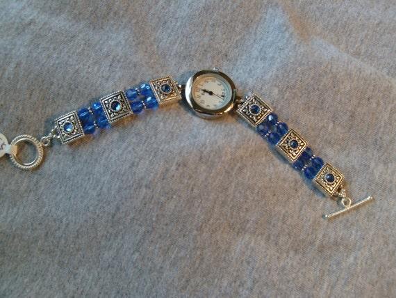 Blue Swarovski Band Watch