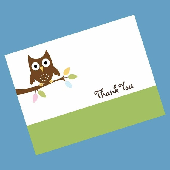 Neutral Forest Owl Thank You Cards (Set of 25)