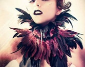 Trashglam Gothic couture coque feathered neck CORSET choker COLLAR CHOOSE purple or black