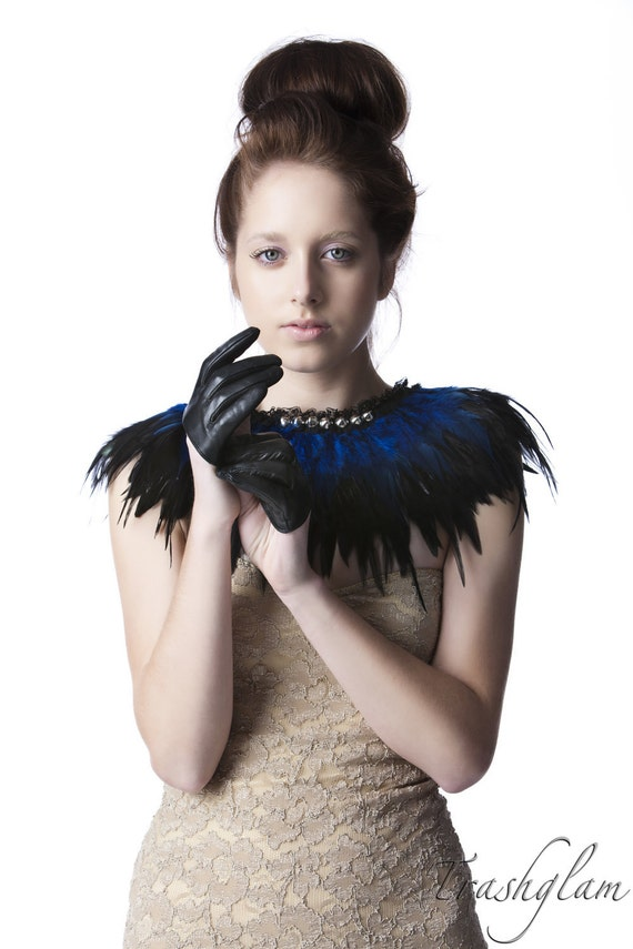 LUXE black and blue coque feathered shoulder collar wrap ROYAL MASQUERADE