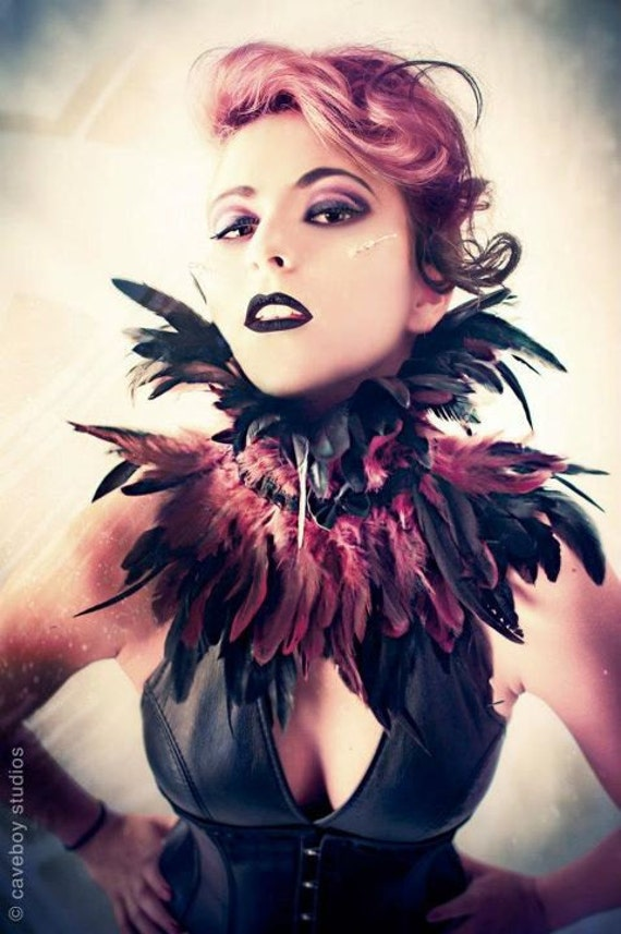 Trashglam Gothic couture feathered neck CORSET choker COLLAR CHOOSE purple or gold yellow