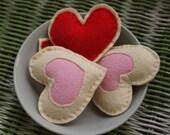 4 Felt Heart Shaped Cookies