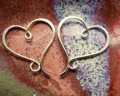 Gold Heart Earrings, 14k Rose, Yellow or White Gold Metalwork Sculptures, BRUSHED finish - STYLE 2