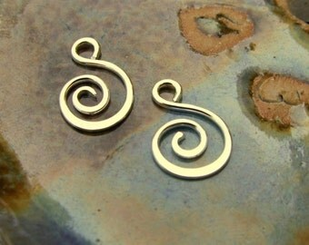8 pcs, Fancy Spiral Charms - Hammered Sterling Silver, Handmade