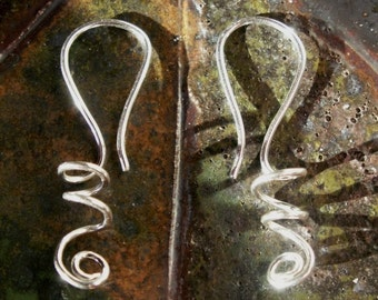 Silver Coil Earrings, Sculpted Metalwork, Artisan Design