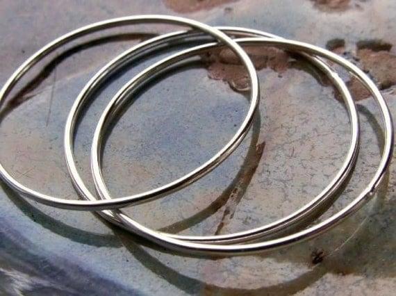 8 Large 30mm (1 1\/4 Inch) CIRCLES\/ HOOP FINDINGS - 18 Gauge, Sterling Silver, Handmade