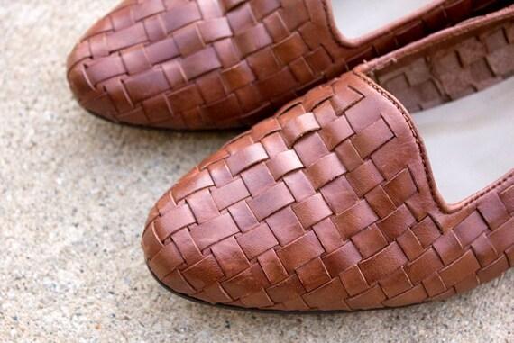 Vintage Huaraches Woven Leather Flats Sz 8 1/2