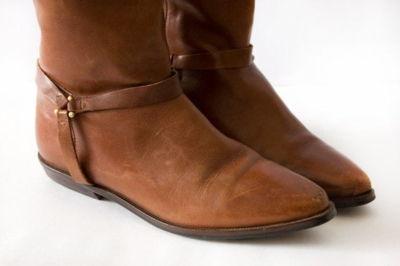 Brown Leather Vintage Riding Boots Size 7