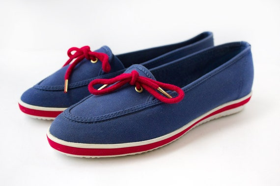 Americana Nautical Canvas Boat Shoes - Size 8