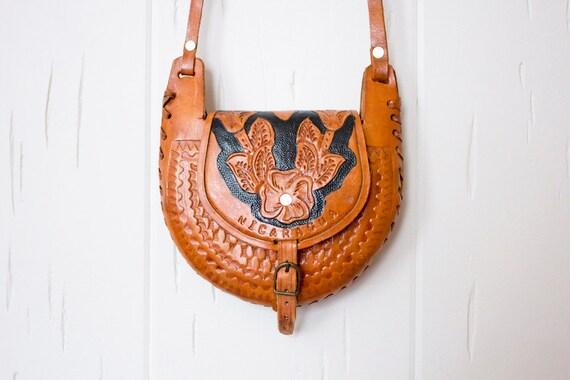 Leather Nicauragan  hand-tooled purse