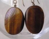 Earrings Tigereye Waves Large Gemstone Earrings