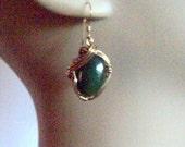Gold filled WireWrap Emerald Queen Dangle Earrings