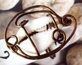 Wire Wrapped Cowrie Shell Ring Size 6 in Antiqued Copper Wire