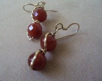 Carnelian Wirewrap Dangle Earrings 14kt Gold-Filled