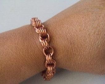 Bracelet in Copper Wire Coils  Loop Du Loop