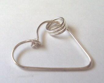 Fine Silver Wire Heart Pendant With Sari Necklace