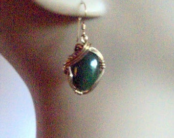Gold filled WireWrap Emerald Queen Dangle Earrings