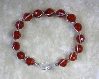 Bracelet  Carnelian Faceted Beads in Sterling Silver