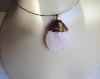 Wire Wrap Pendant Necklace Large Rose Quartz Faceted Teardrop