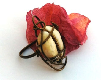 Cowrie Shell Ring in Antiqued Copper Wire