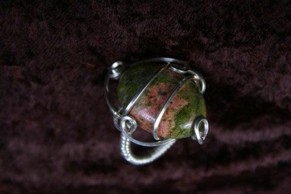 Wire Wrapped Ring Size 8 Unakite Delight in SS