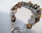Knit crochet  wire bracelet cuff in -silver  and healing gemstone-  brown tiger eye chips  - Wire wrap cuff bracelet under 40 usd