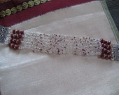 Knitted  wire bracelet in  sterling silver and red coral beads- wire wrap cuff- elegant, upscale, ethnic, luxury jewelry