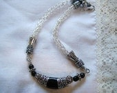 Knitted with wire  jewelry -Wire wrapped viking knit necklace in silver and black  onyx